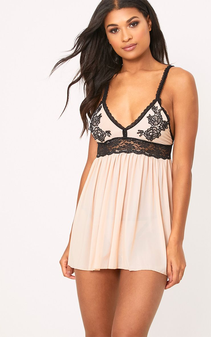 Nude Applique Detail Babydoll