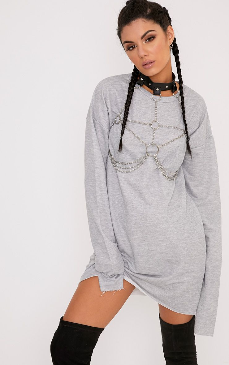 Breanna Grey Extreme Long Sleeved Sweater Dress  1