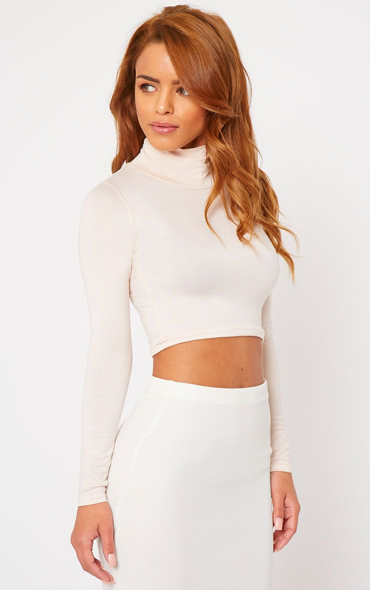 Basic Nude Roll Neck Crop Top 1