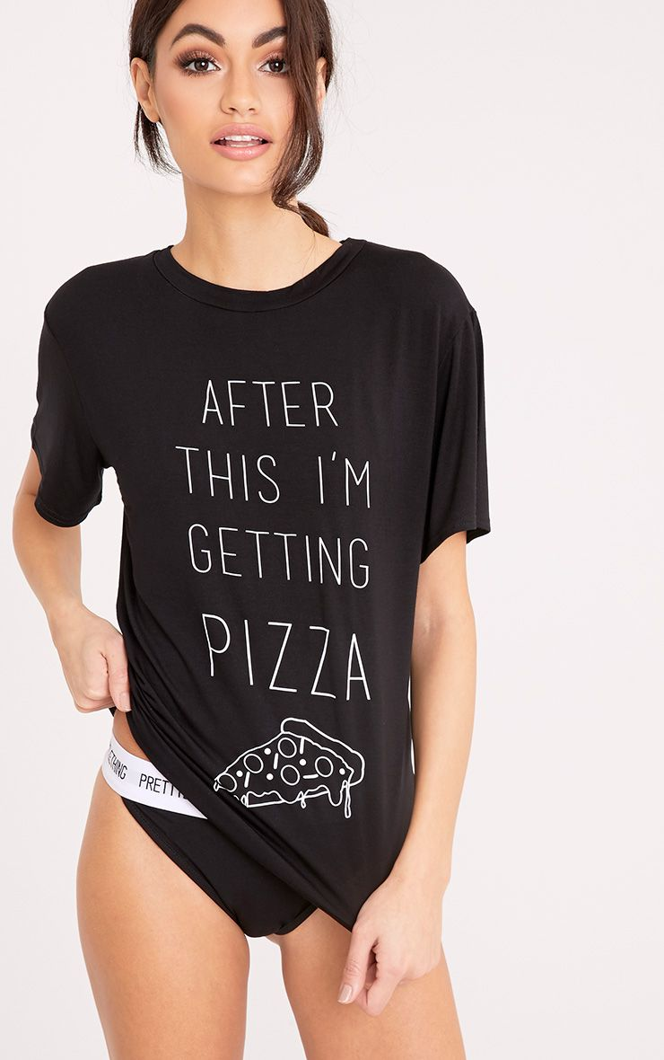 After This I'm Getting Pizza Black Slogan T Shirt