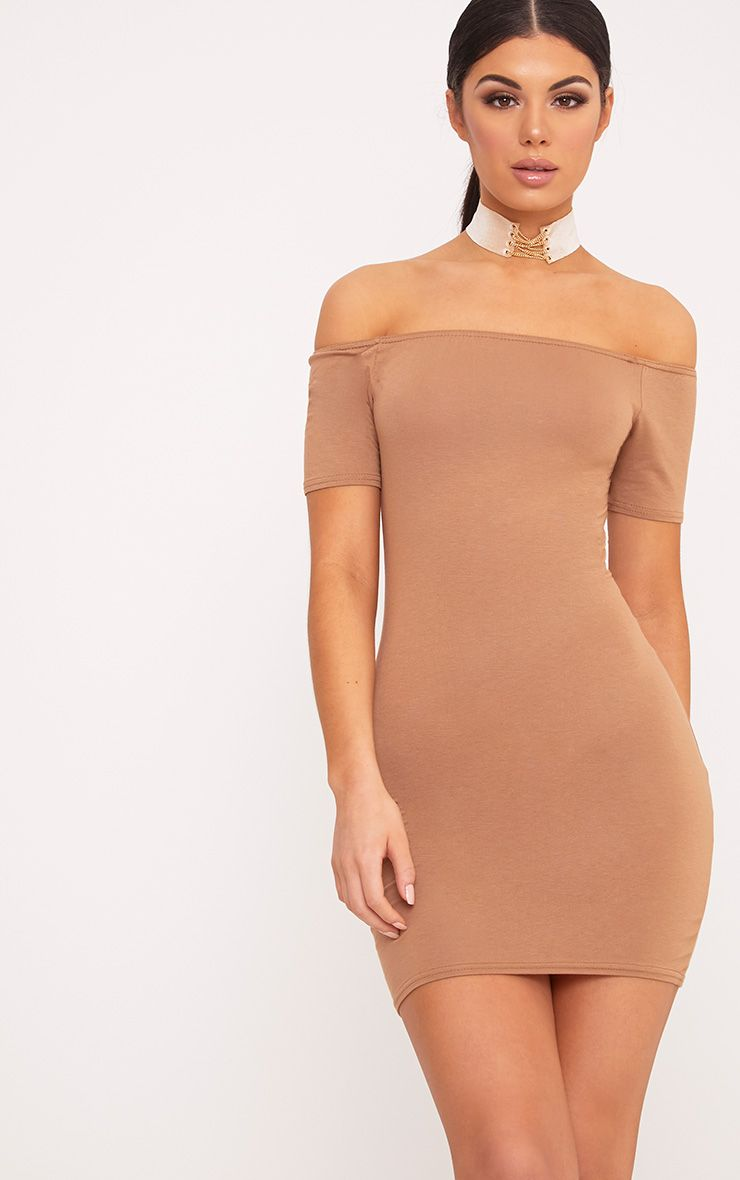 Basic Camel Short Sleeve Bardot Bodycon Dress 1