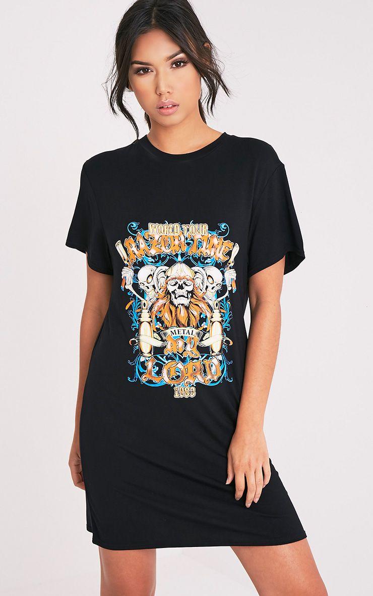 Skull Print Black T-Shirt Dress 1