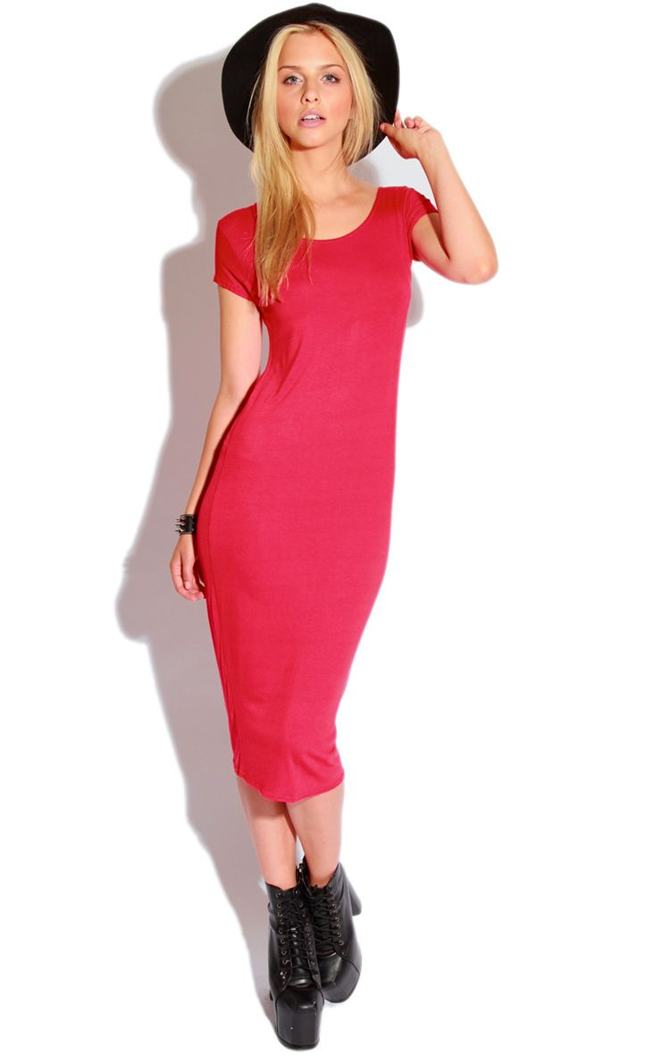 Lily Red Basic Midi Dress 1