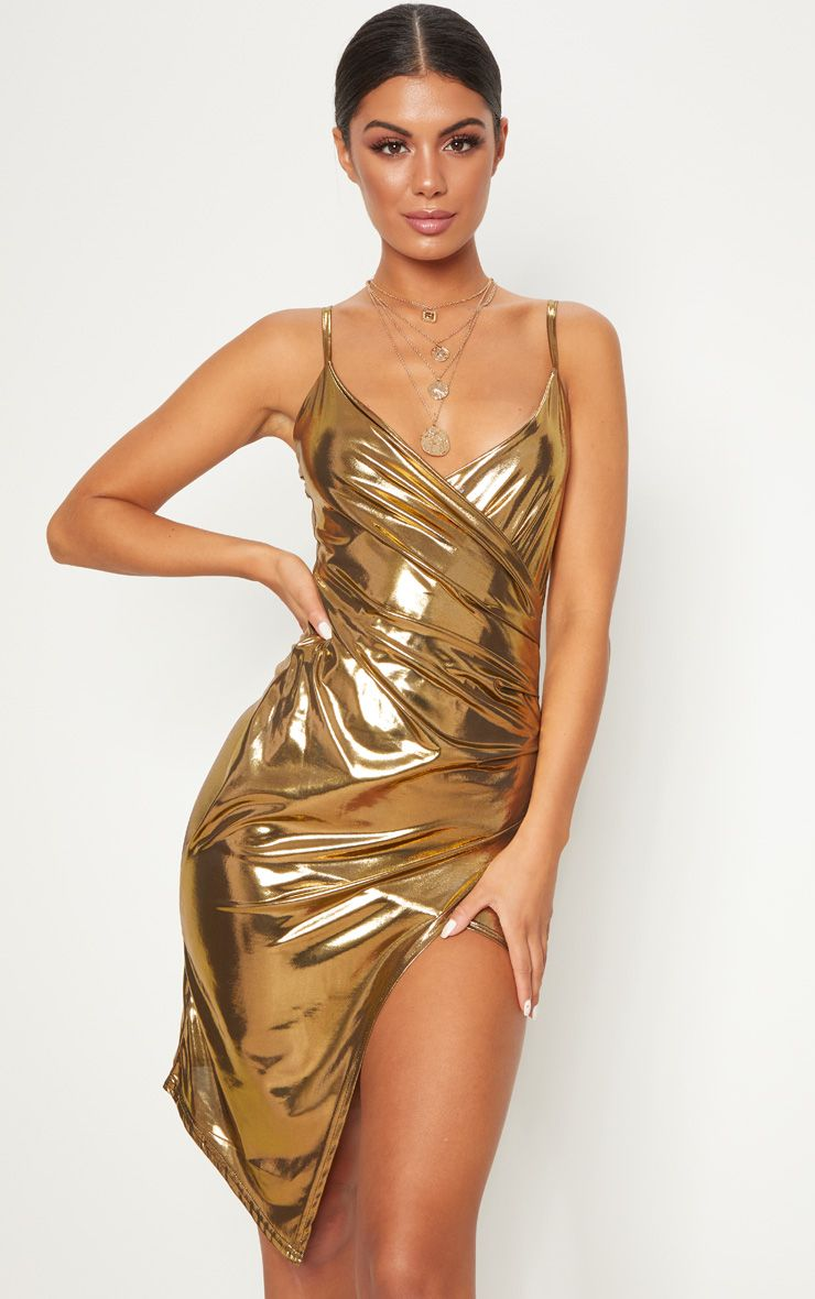 Gold Metallic Wrap Front Midi Dress