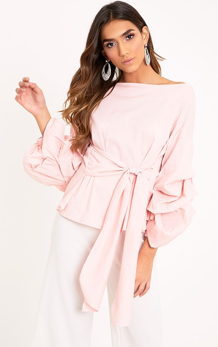 Delanie Baby Pink Puff Sleeve Off Shoulder Tie Waist Shirt