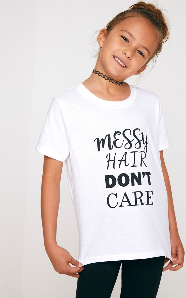 T-shirt blanc slogan Messy Hair Don't Care