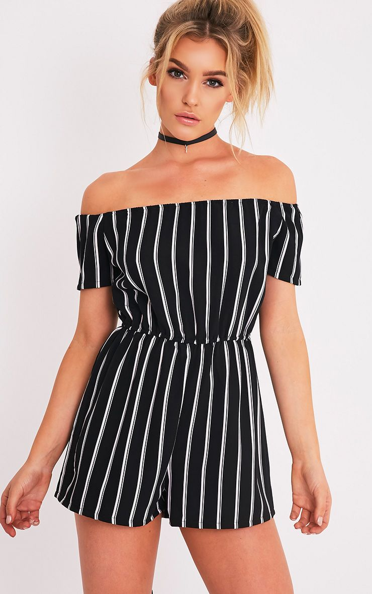 Jaysey Black Stripe Print Bardot Playsuit