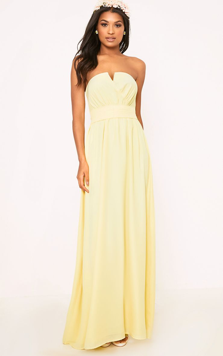Lainey Lemon Bandeau Maxi Dress