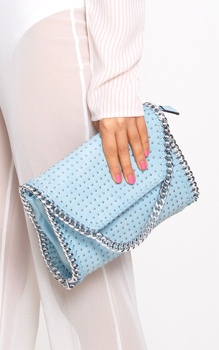 Blue Chain Trim Studded Bag