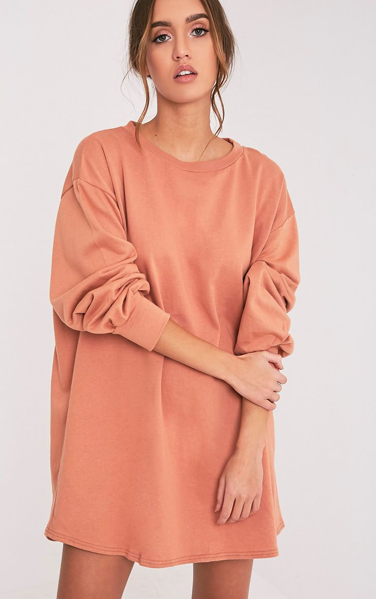 Sianna Deep Peach Oversized Sweater Dress