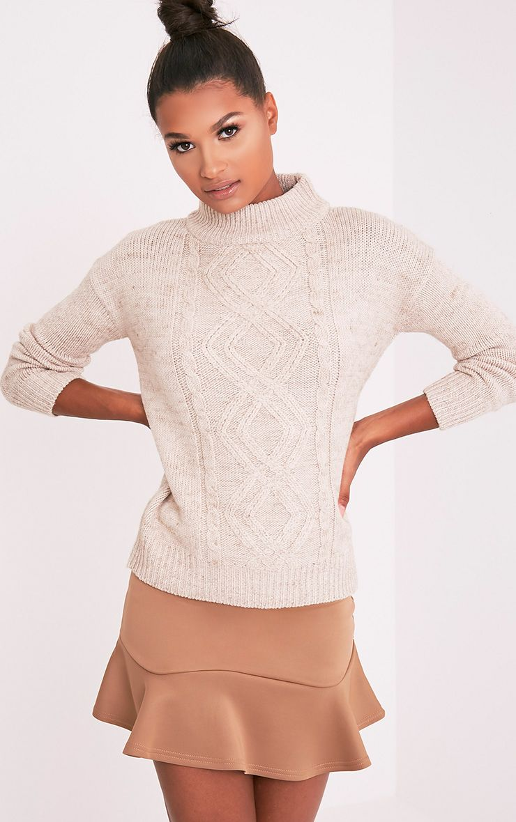 Jodeanne Taupe Cable Knit Detail Turtle Neck Jumper 5