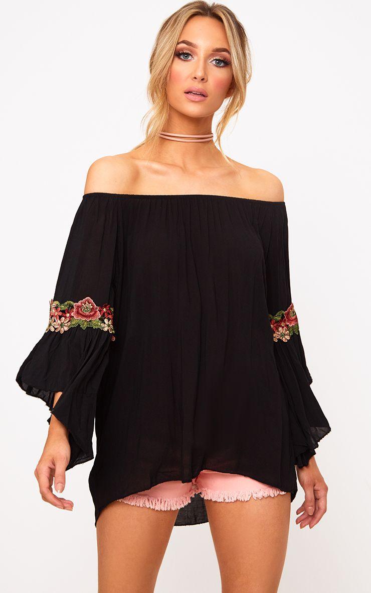 Black Soft Embroidered Applique Sleeve Bardot Top