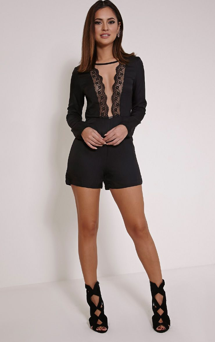 Eileen Black Lace Mesh Plunge Playsuit 1