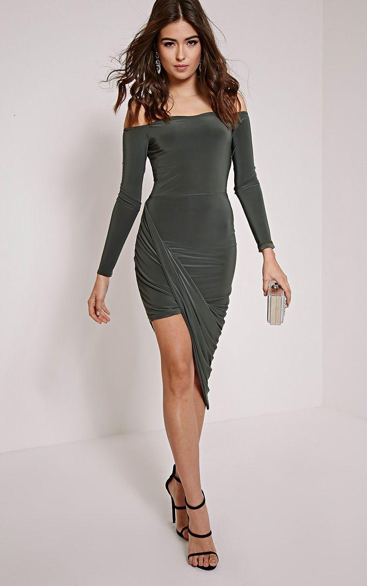 Prim Khaki Bardot Drape Asymmetric Dress 1
