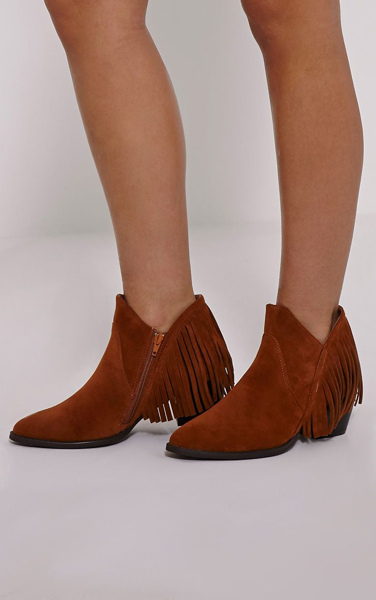 Aryel Tan Tassel Detail Faux Suede Ankle Boots 1