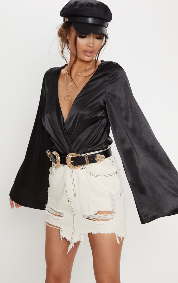 Ecru Contrast Stitch Distressed Denim Mini Skirt