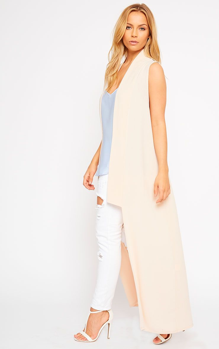 Georgena Nude Sleeveless Duster Coat 1