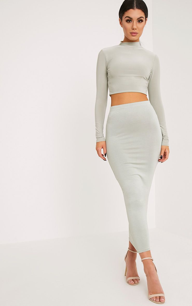 Basic Sage Green Midaxi Skirt