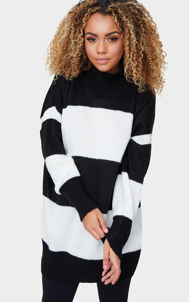 Black Stripe Oversized Knitted Jumper