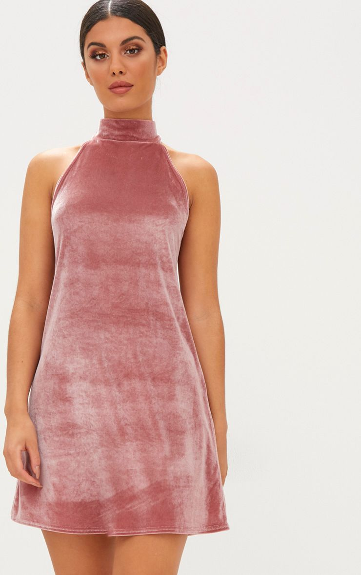 Rose Velvet High Neck Swing Dress