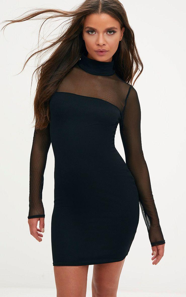 Black High Neck Mesh Panel Bodycon Dress 1