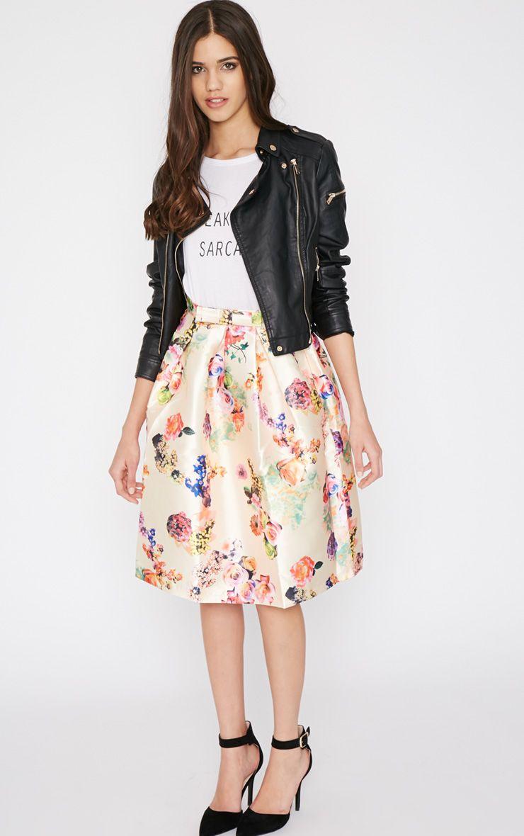 Harley Cream Floral Print A-Line Skirt 1