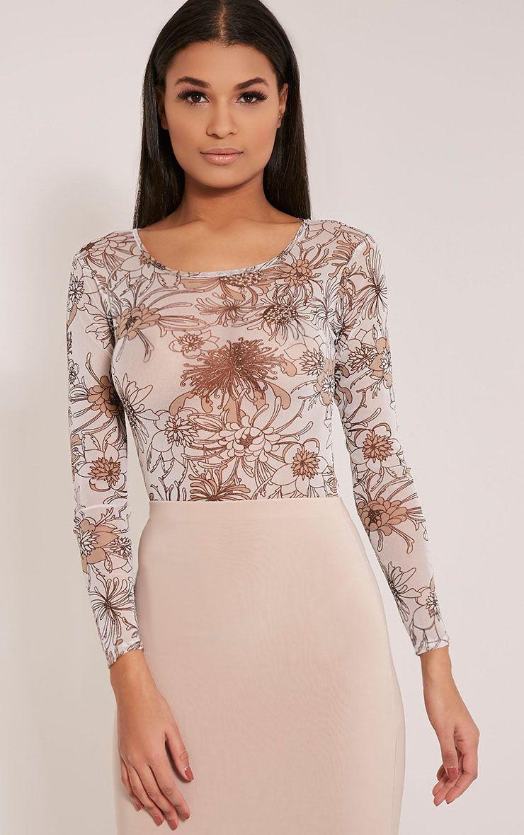 Marianna White Floral Print Mesh Long Sleeve Bodysuit 1