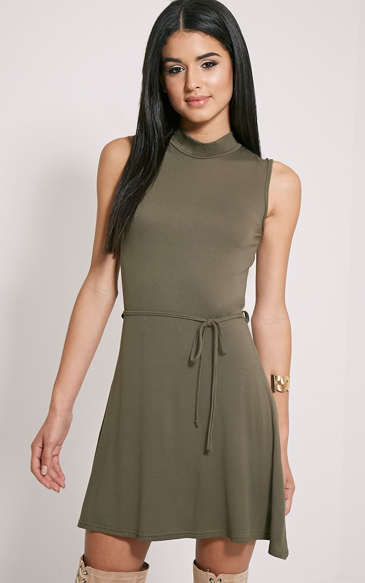 Marlie Khaki High Neck Belted Skater Dress 1
