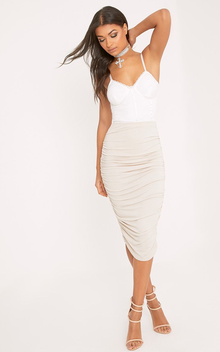 Stone Second Skin Ruched Side Midi Skirt