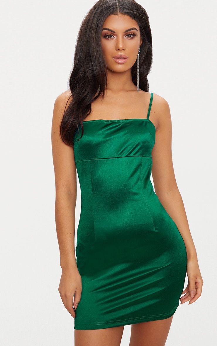 Emerald Green Straight Neck Strappy Satin Bodycon Dress