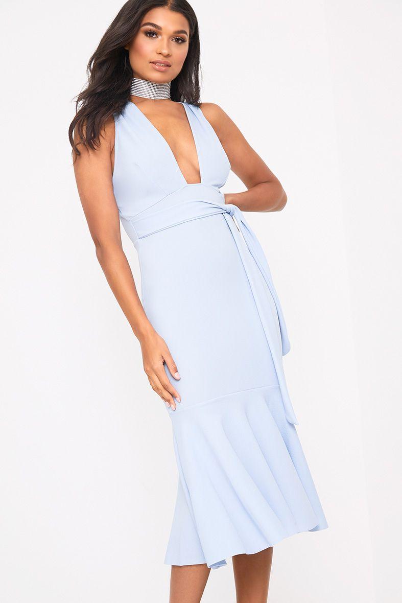 Dusty Blue Plunge Fishtail Midi Dress