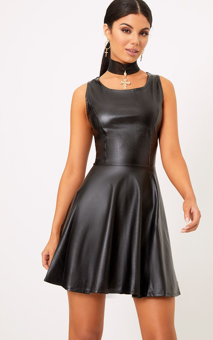 Black PU Skater Dress