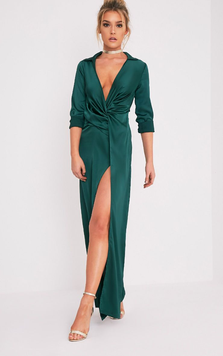 Alyssia Emerald Green Twist Front Maxi Shirt Dress 1