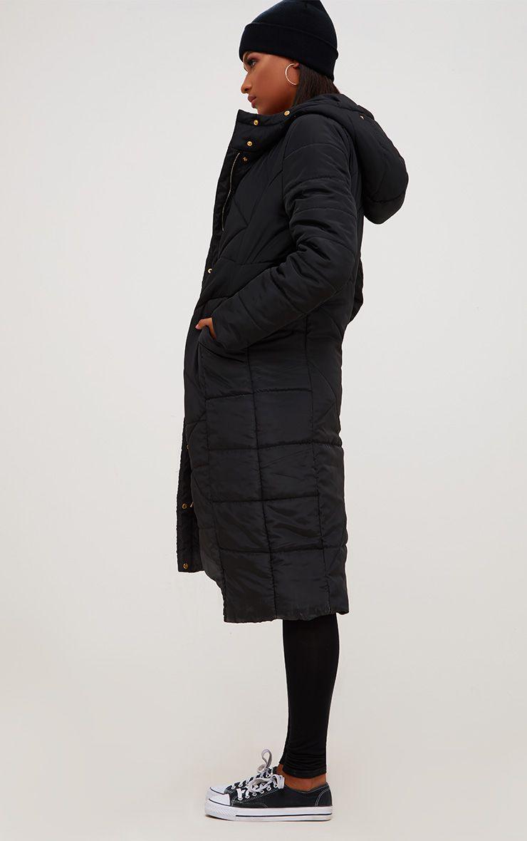 Black Hooded Longline Puffer Jacket
