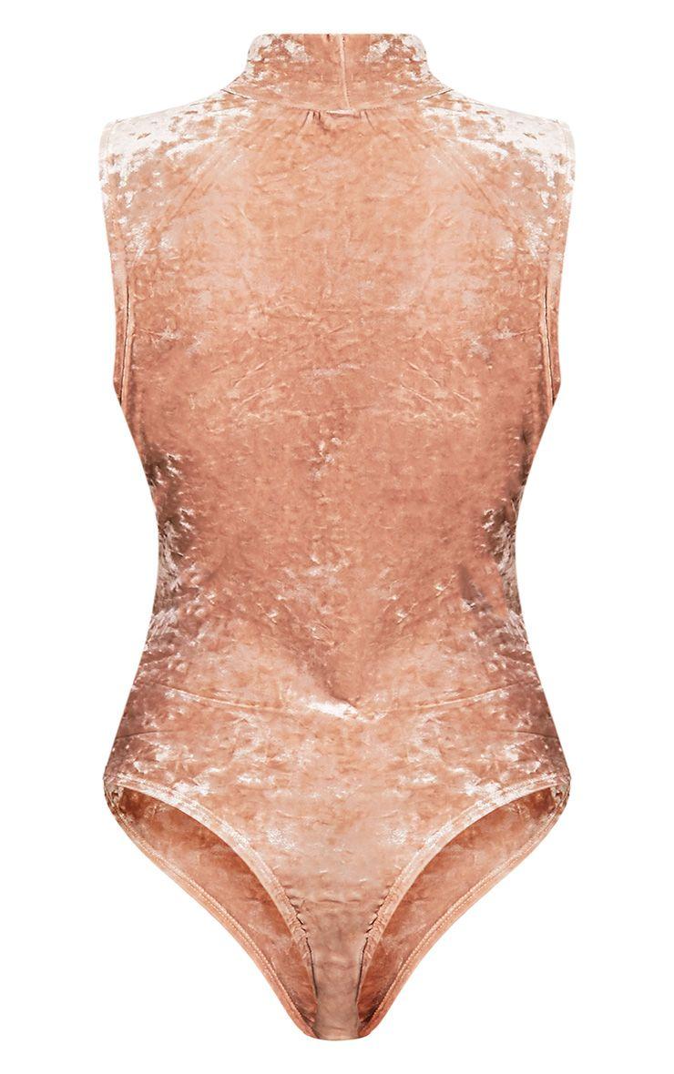 Melani body-string en velours ras du cou montant champagne 4