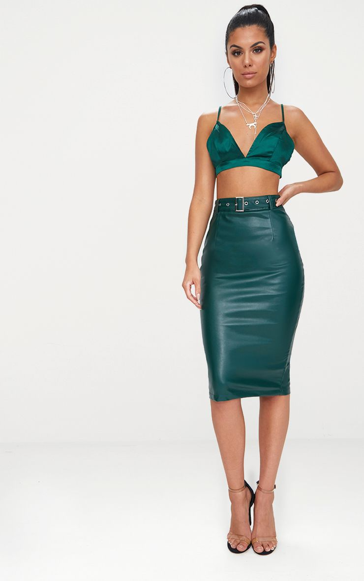 Emerald Green Faux Leather Belt Midi Skirt