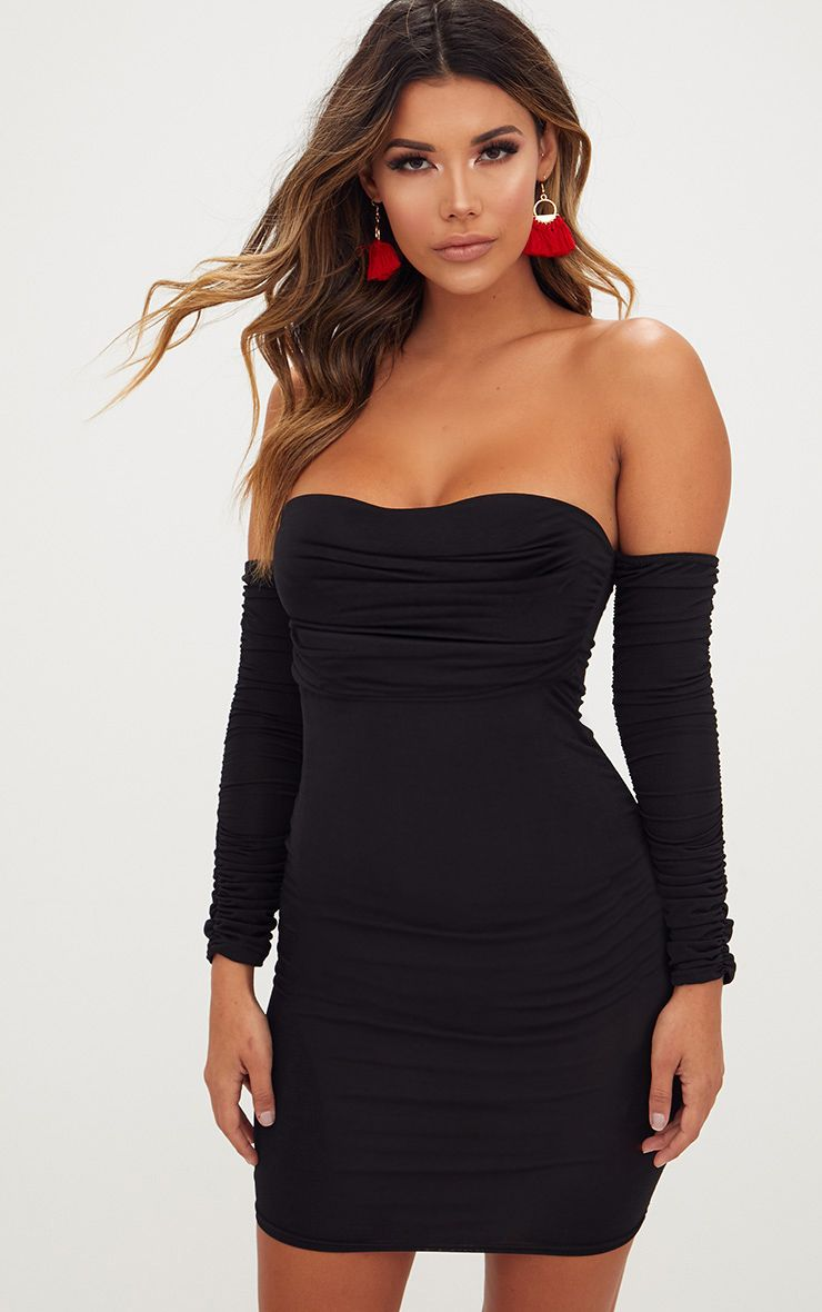 With Paypal Sale Online Black Tie Front Ruched Arm Bardot Bodycon Dress Pretty Little Thing Cheap Brand New Unisex Classic Cheap Online kbT6I4s