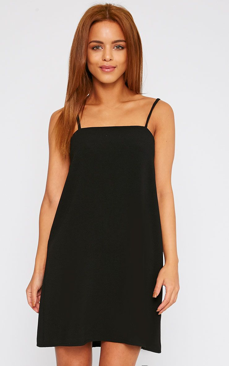 Joy Black Crepe Cami Swing Mini Dress 1