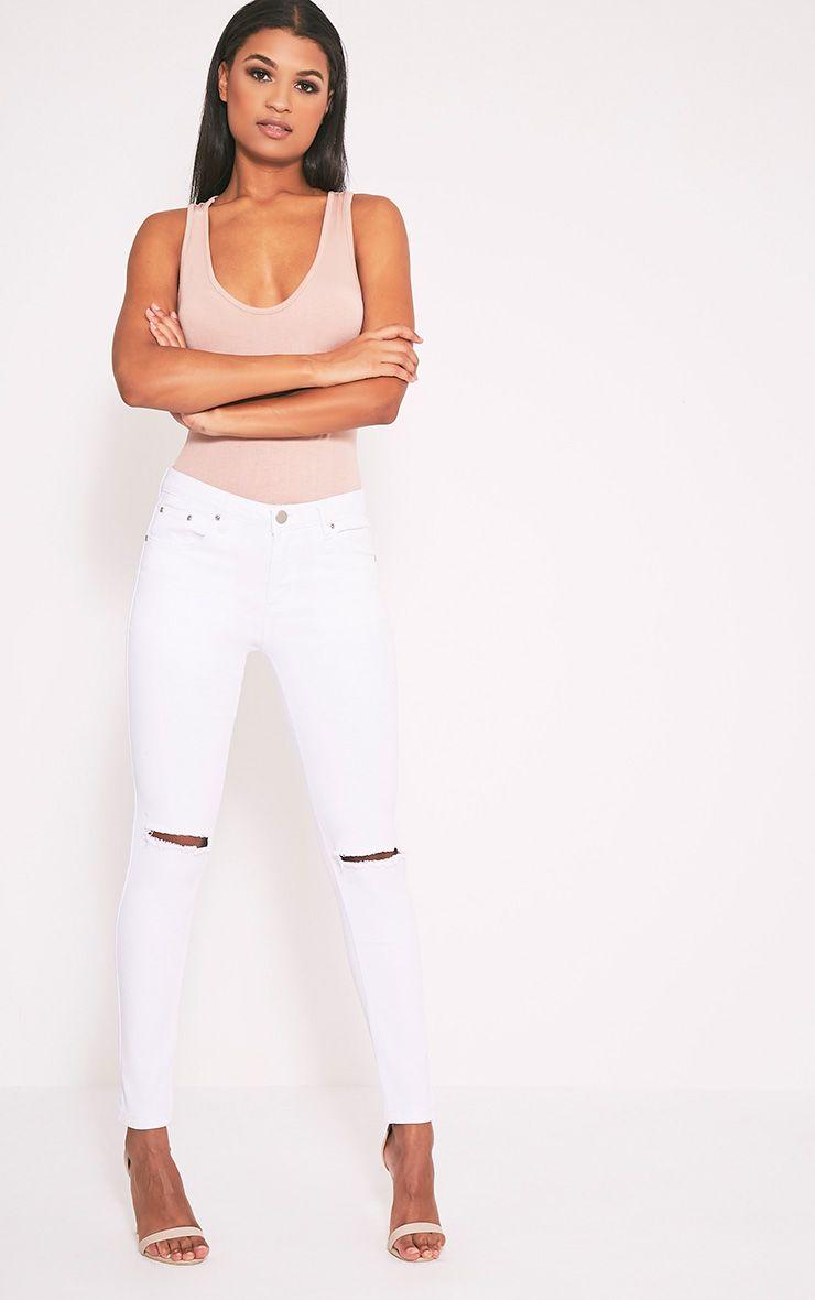 Kim White Knee Rip Slim Jean