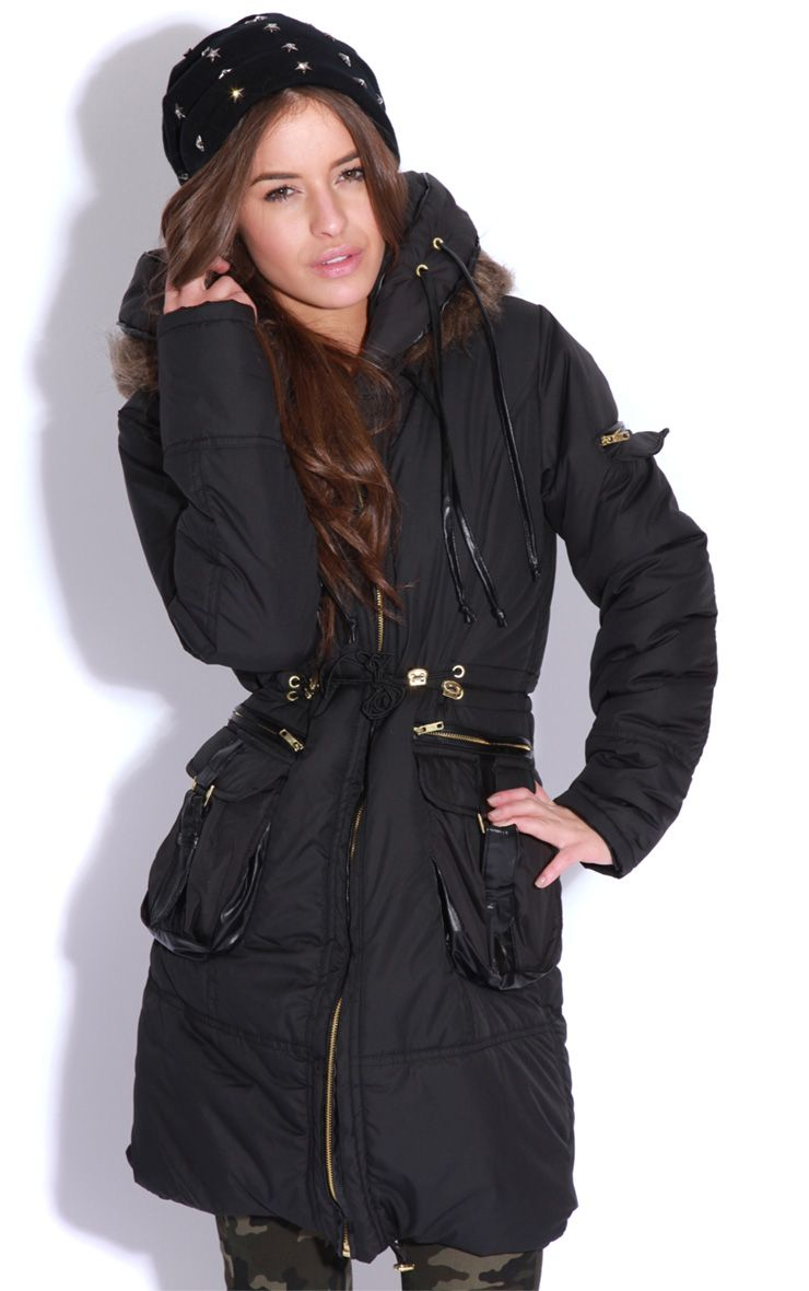 Caroline Black Quilted Parka Coat 1