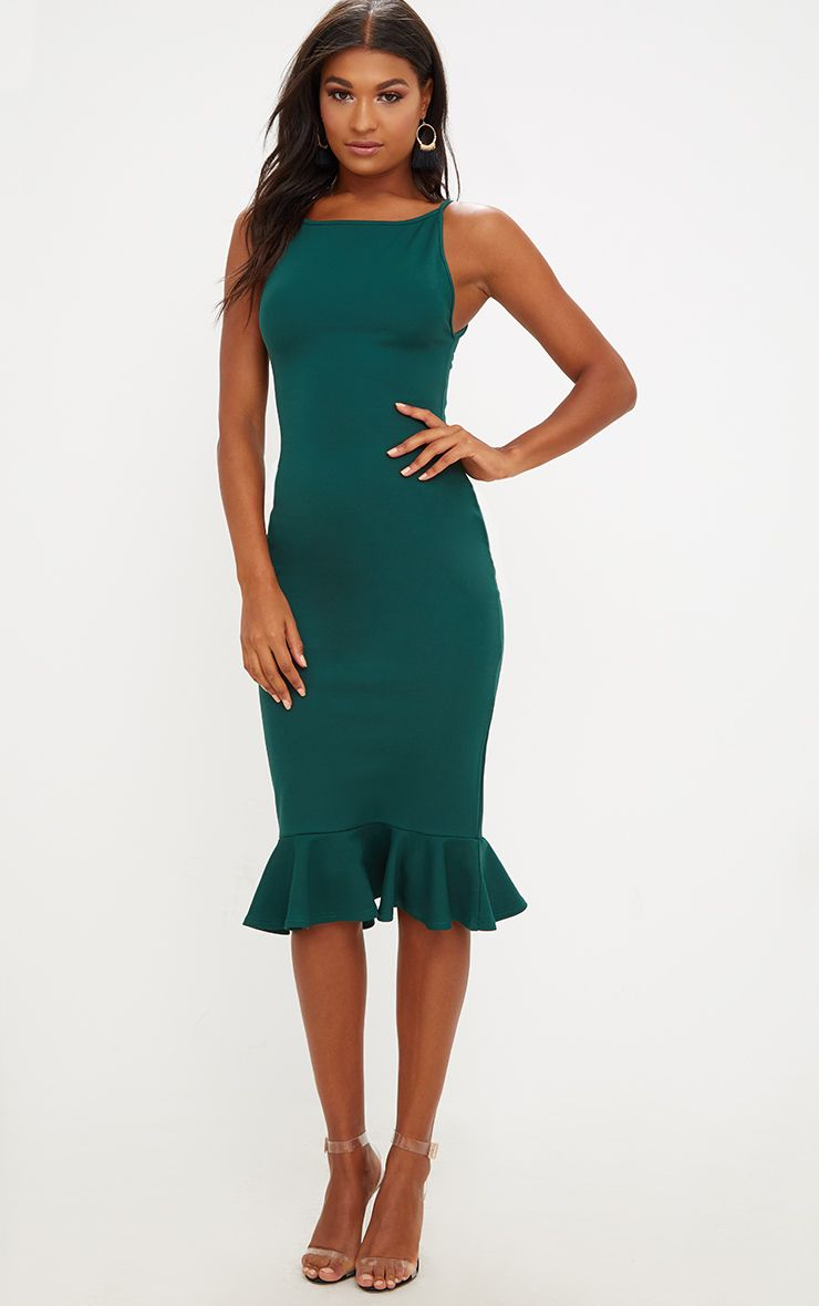 Forest Green Square Neck Frill Hem Midi Dress