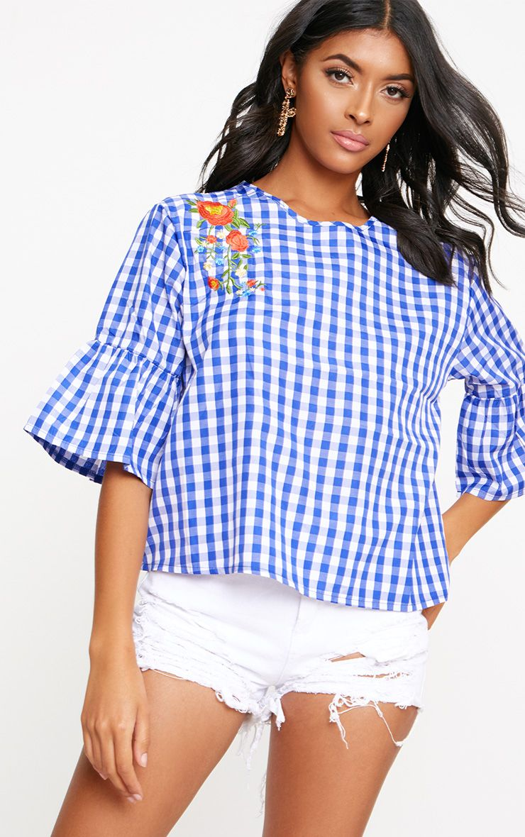Blue Embroidered Gingham Top
