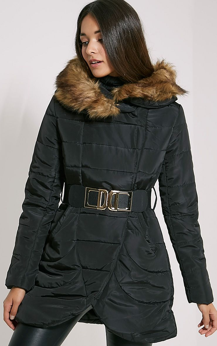 Ivanka Black Quilted Hooded Coat 1
