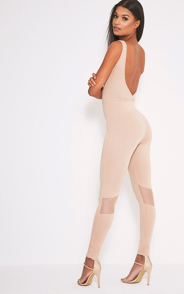 Makayla Nude Mesh Insert Fitted Jumpsuit