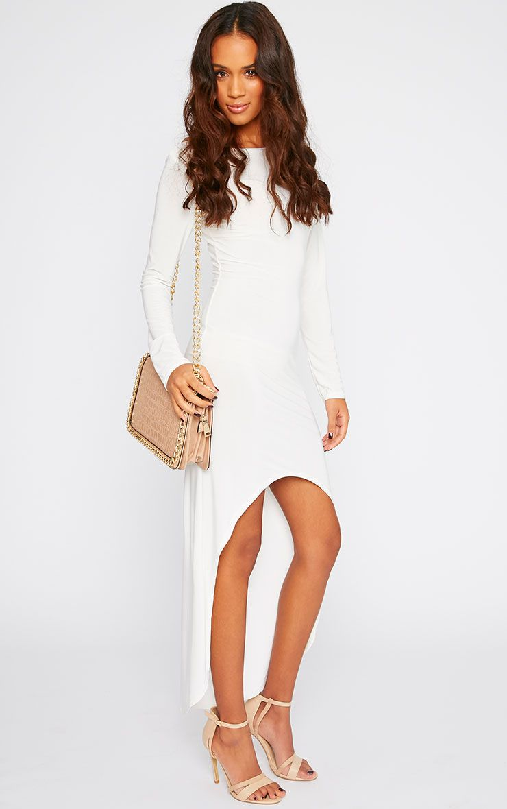 Fearne Cream Slinky Dip Hem Dress 1