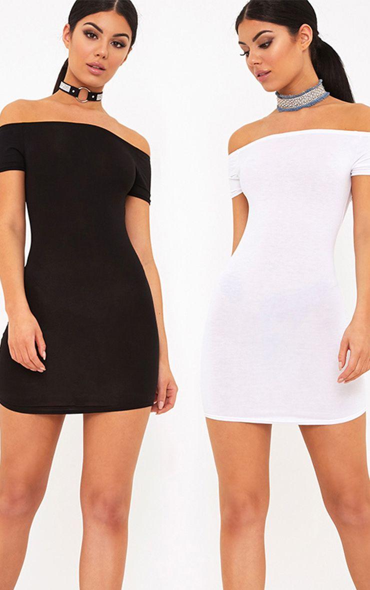 2 Pack White & Black Basic Bardot Bodycon Dress
