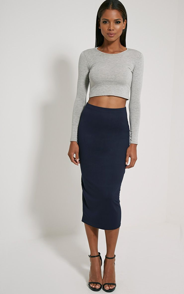 Basic Navy Longline Midi Skirt
