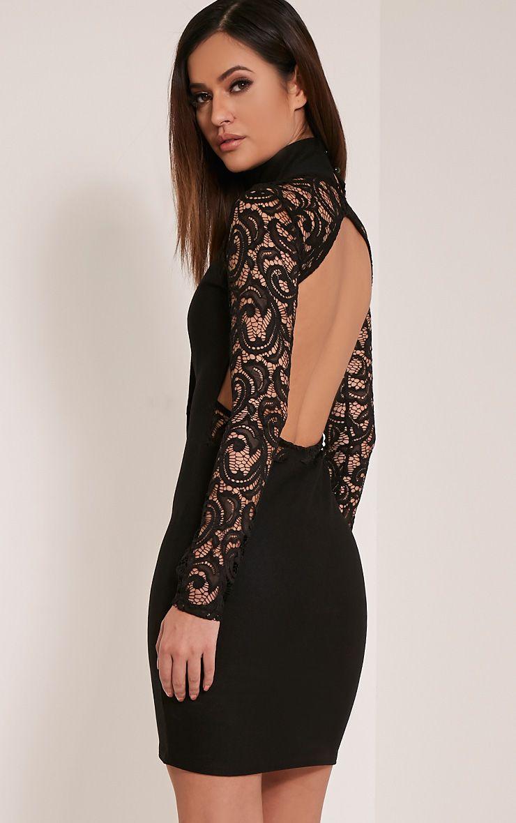 Bethenny Black Cut Out Back Lace Insert Bodycon Dress