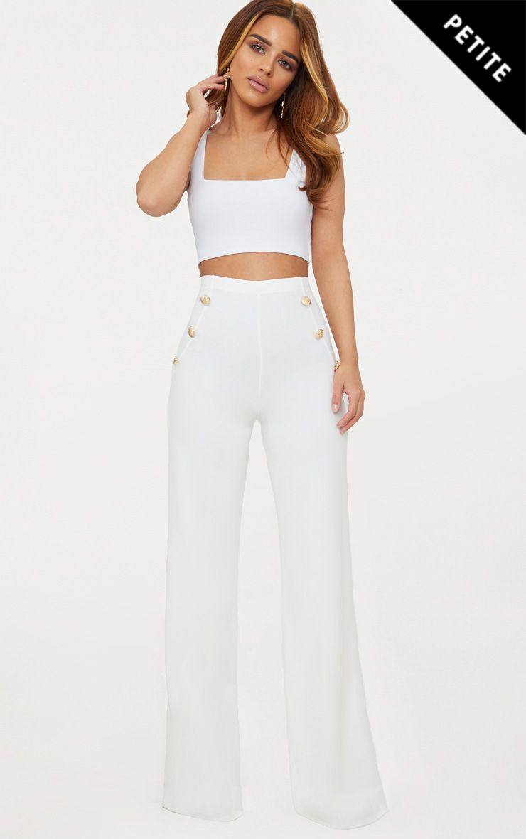 Petite White Military Button Wide Leg Trousers