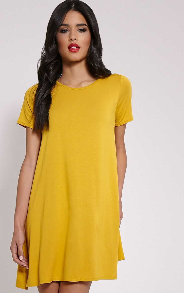 Basic Mustard Jersey Swing Dress 1